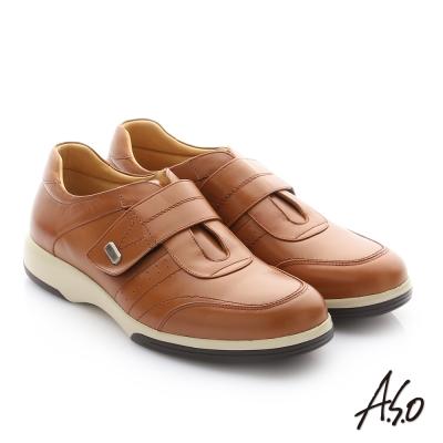 A.S.O 頂級氣墊增高寬楦 牛皮奈米魔鬼氈休閒鞋 茶色