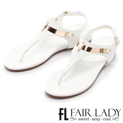Fair Lady 玩酷金屬系T字楔型涼鞋 白