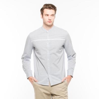 Hang Ten -男裝-都會基本小立領襯衫 - 藍