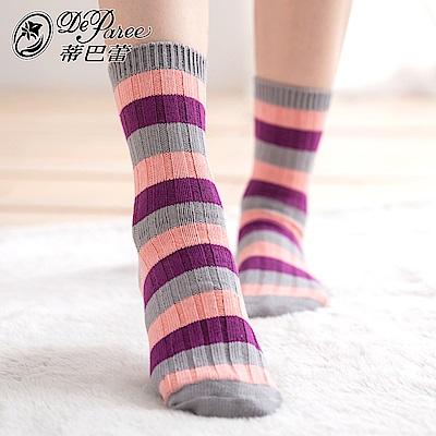 蒂巴蕾 流行女棉襪-羅紋彩條