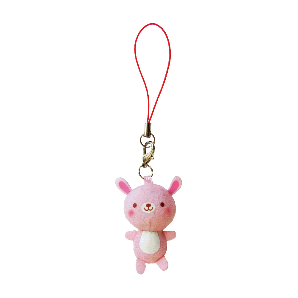 UNIQUE 動物樂園迷你公仔吊飾。粉紅兔