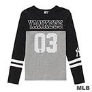 MLB-紐約洋基隊網眼數字印花長袖T恤-黑 (女)