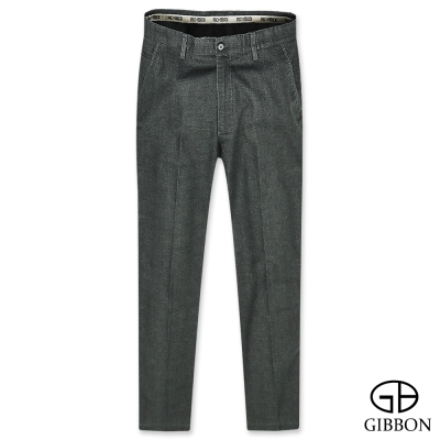 GIBBON 彈性合身暗格紋休閒長褲‧灰色31-42