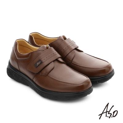 A.S.O 超能耐 羊紋牛皮奈米魔鬼氈皮鞋 咖啡色