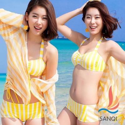 SANQI三奇 陽光閃耀 三件式比基尼泳裝(黃L.XL)
