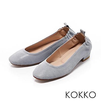 KOKKO - 輕甜好感真皮方頭素面粗跟鞋-天空藍