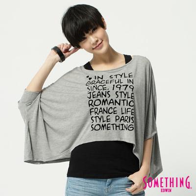 SOMETHING女文字印花寬版T恤