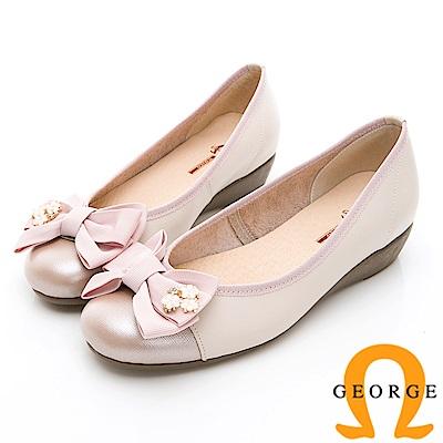 GEORGE 喬治-輕量系列 異材質拼接雙色蝴蝶結淑女鞋-淺粉