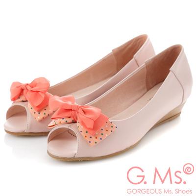 G.Ms.   魚口雪紡紗水玉雙層蝴蝶結小坡跟鞋-浪漫粉