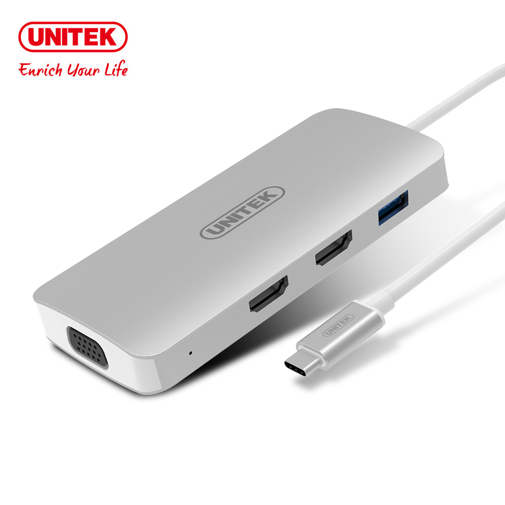 UNITEK TYPE-C 轉VGA/HDMI/PD充電/HUB 鋁合金多功能轉接器