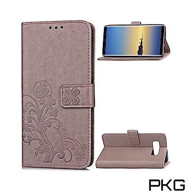 PKG 三星NOTE8 側翻式皮套-精緻壓花皮套系列-幸運草-灰色