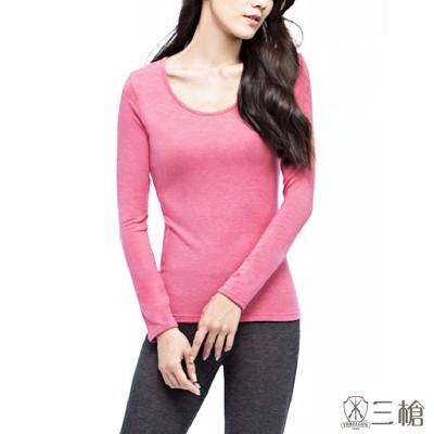 三槍牌時尚經典1件組石版玫瑰 台灣製舒適女長袖棉感發熱衣