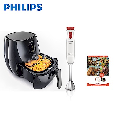 飛利浦 PHILIPS 免油健康氣炸鍋/黑 (HD9230)+手持式料理調理棒( HR1621)