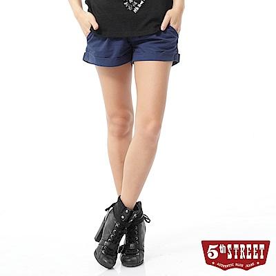 5th STREET 打褶休閒短褲-女-灰藍