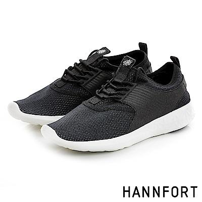 HANNFORT ICE襪套式透氣網布運動休閒鞋-女-極簡黑