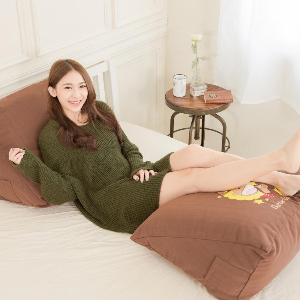 【奶油獅】正版授權-100%台灣製造 加厚貼布鏽 星星牛仔布套可拆三角靠墊/美腿枕(二入)