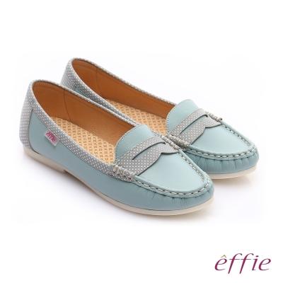 effie 縫線包仔鞋 真皮點點奈米樂福平底鞋 淺藍