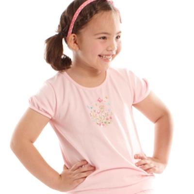 愛的世界 MYBABY 蝶舞圓領束口短袖上衣/6~8歲