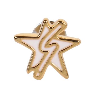 agnes b. b logo&星星穿式耳環-金邊白色(單隻)