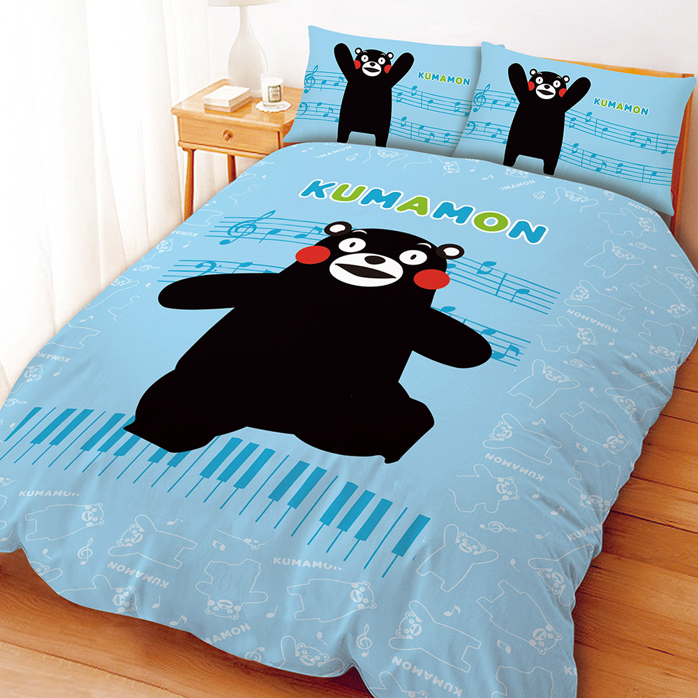 酷MA萌 音樂會系列-雙人四件式床包兩用被組(藍)