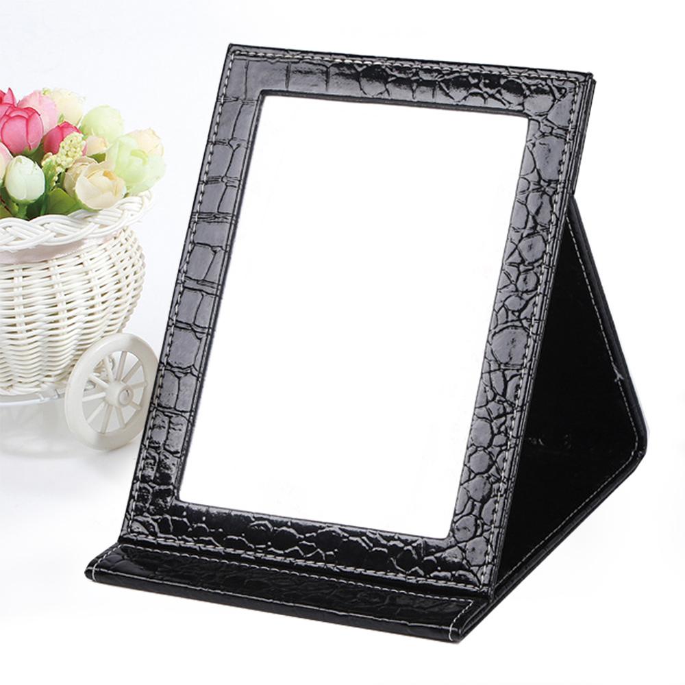 幸福揚邑 時尚皮革質感隨身摺疊彩妝美妝化妝鏡桌鏡