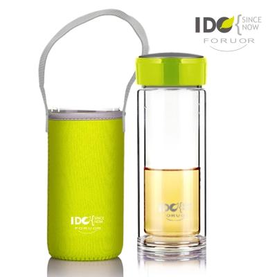 法國FORUOR 繽紛綠色馬卡龍雙層耐高溫水晶玻璃隨手杯-附套/ 300 ml( 8 H)