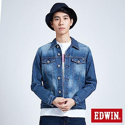 EDWIN 基本繡字牛仔外套-男-拔洗聯