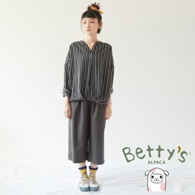 betty's貝蒂思 舒適材質七分寬褲(深灰)