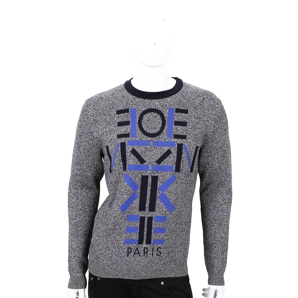 KENZO 灰藍色字母圖騰粗針織上衣(100%WOOL)