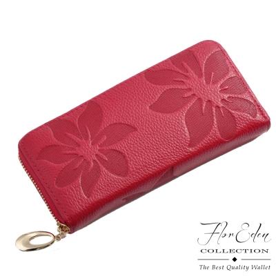 DF Flor Eden皮夾 - 山茶花真皮壓紋款單拉鍊長夾-玫紅