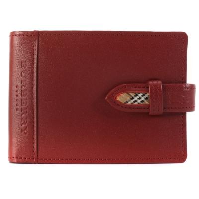 BURBERRY經典飾邊格紋隨身零錢穿扣皮革手帳冊-紅色
