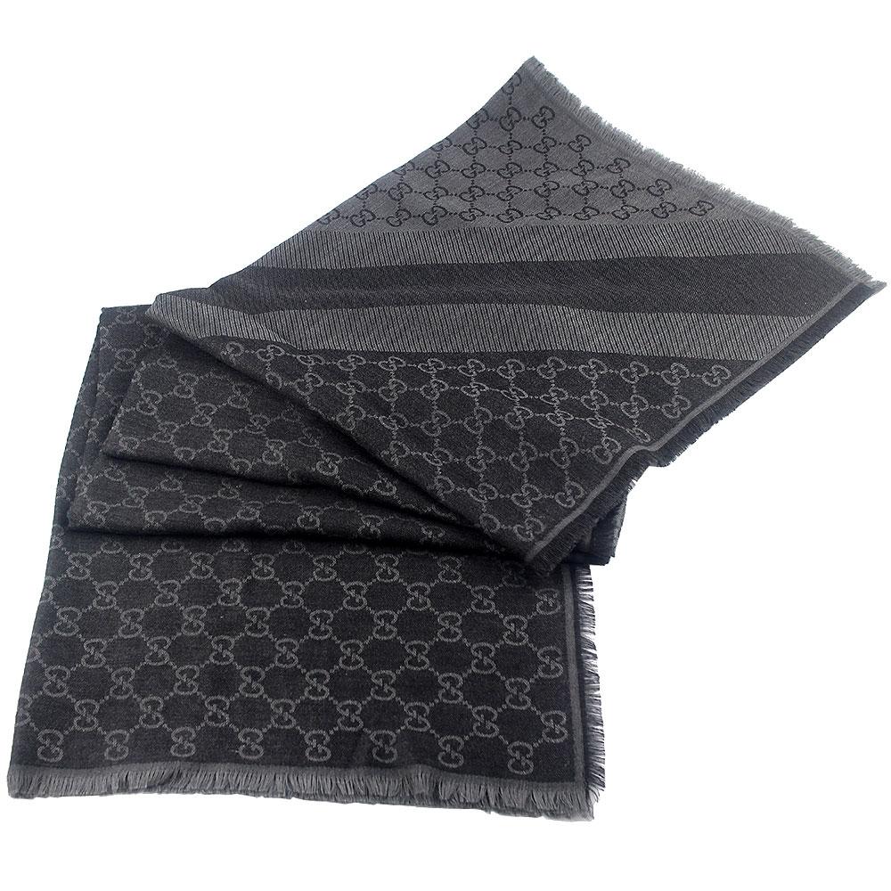 GUCCI 灰/鐵灰色 G LOGO雙色條紋羊毛混紡方形圍巾披肩(大)GUCCI