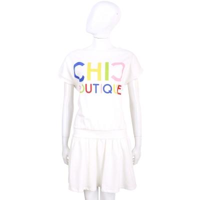 BOUTIQUE MOSCHINO 白色英文字母棉質短袖洋裝