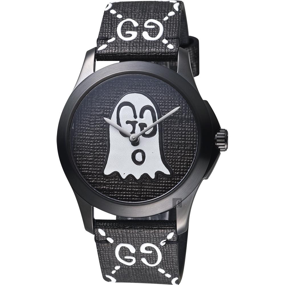 Gucci古馳 G-Timeless Ghost 小精靈雙G壓紋造型錶-黑/38mm