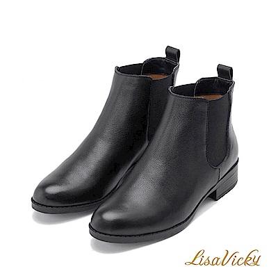 LisaVicky學院風格側伸縮低跟短靴-牛皮黑