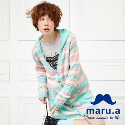 maru-a麻洛野-條紋配色連帽長版針織罩衫-條紋