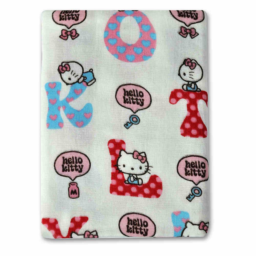 SANRIO三麗鷗授權Hello Kitty凱蒂貓英文字紗蘿浴巾