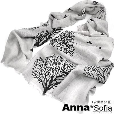 【2件69折】AnnaSofia 鳥飛樹影 薄款純羊毛圍巾(灰黑系)