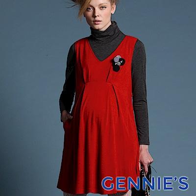 Gennie's奇妮-010系列-花朵孕婦背心洋裝(T2421) 紅/黑二色可選