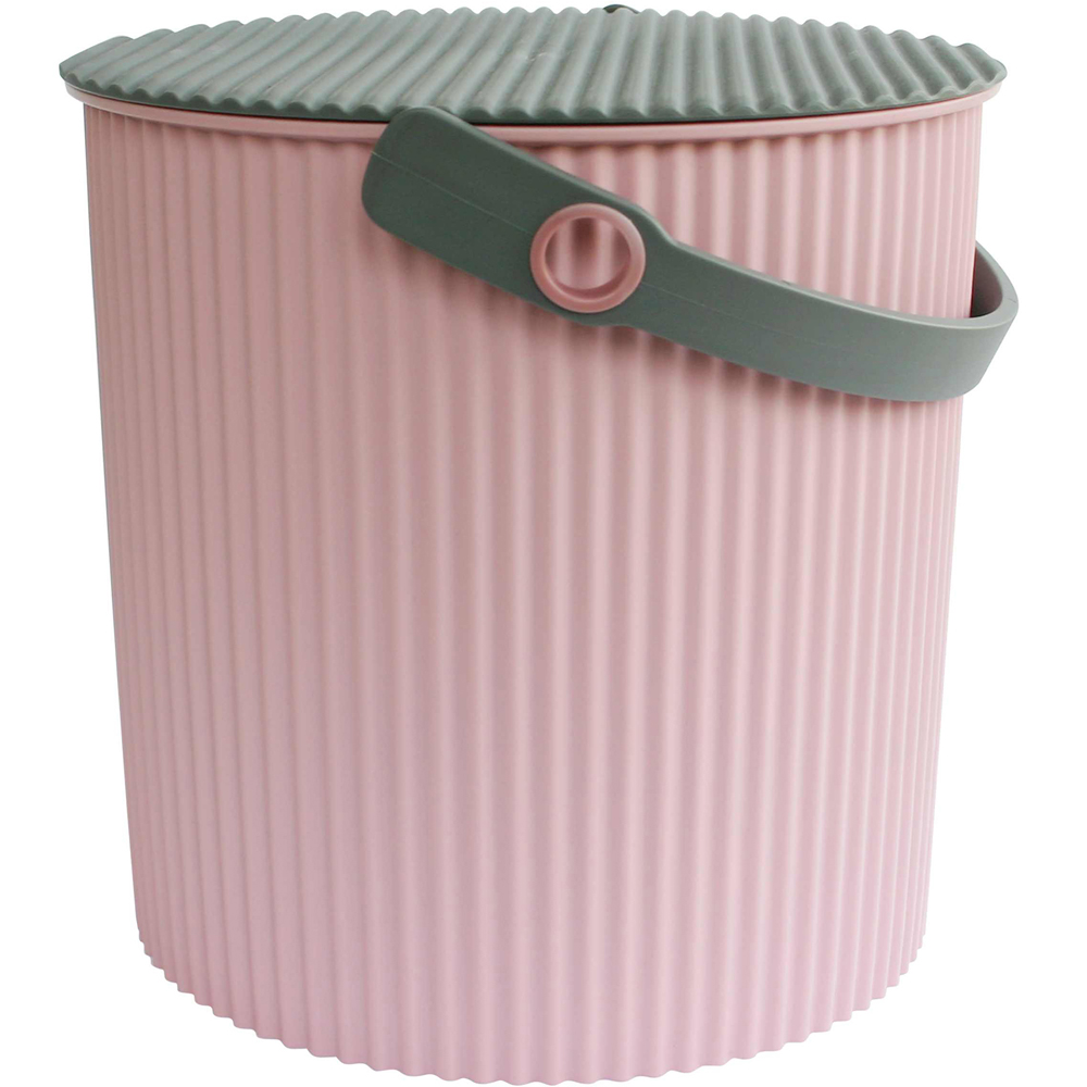 Sceltevie 瓦楞收納桶(淺粉L)