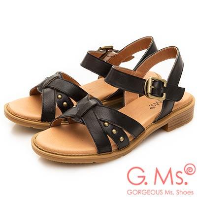 G.Ms. MIT系列-米字鉚釘繫帶牛皮平底涼鞋-黑色