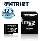 Patriot美商博帝 MicroSDHC 32GB Class10記憶卡+SD轉卡