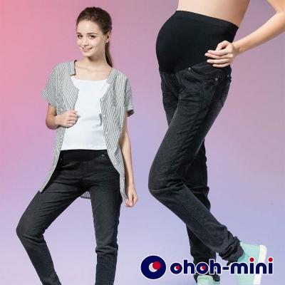 ohoh-mini 孕婦裝 穿搭必備超彈力煙管單寧褲-2色
