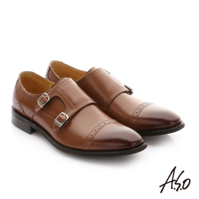 A.S.O 職人通勤 牛皮鬆緊帶皮鞋 茶色