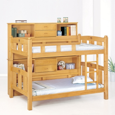 Bernice-尊德3.7尺原木色雙層床架(含邊櫃)