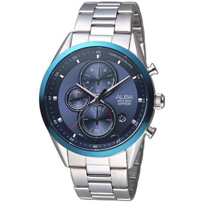ALBA 雅柏日系三眼計時腕錶(AM3461X1)藍/43mm