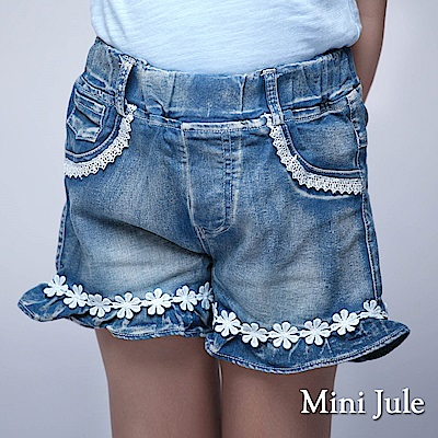 Mini Jule 童裝-短褲 花邊褲管鬆緊短褲(藍)