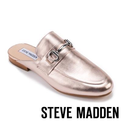 STEVE MADDEN-KANDI 馬銜扣真皮低跟穆勒鞋-玫瑰金