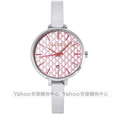 MANGO 優雅格紋時尚手錶-粉X銀/ 34 mm