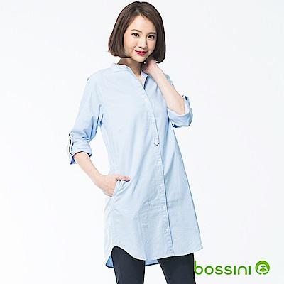 bossini女裝-長版長袖襯衫01淡藍